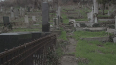 Old haunted cemetery [flycam] sneaking Stock Footage
