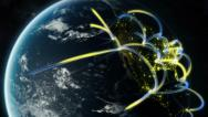Stock Video Footage of Global Digital network spreading across realistic world