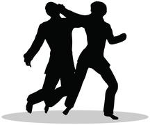 karate martial art silhouettes of man and woman - stock illustration