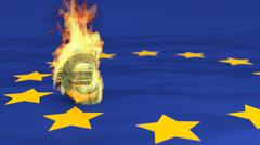 Stock Illustration of Illustration of euro burning symbol on european flag