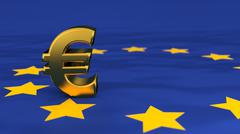 Illustration of golden euro symbol on european flag - stock illustration