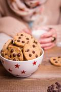 chocolate chip cookies on stars bowl over a table - stock photo