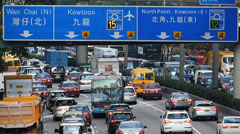 Asia China Hong Kong Wanchai rush hour Traffic Jam congestion Stock Footage