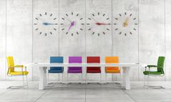 colorful conference room - stock illustration