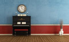 music room with  black vertical piano - stock illustration