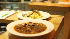 Meals in restaurant ready to be served Stock Footage