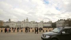 View of traditional guards areal london Stock Footage