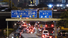 Time Lapse  Hong Kong Wanchai downtown Traffic at dusk Stock Footage