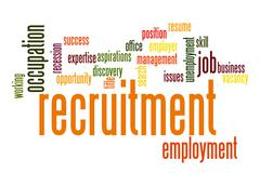recruitment word cloud - stock illustration