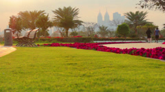 Dubai.UAE.Golden Tulip-Al Barsha in February 2014.Al Barsha Pond Park. Stock Footage