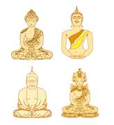 vector of chinese traditional artistic buddhism pattern set - stock illustration