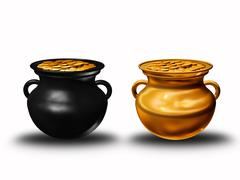 Pots of clay with coins Stock Illustration