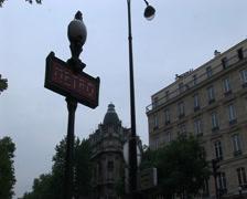 Metro sign. Paris, France Stock Footage