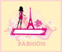 beautiful women shopping in paris - vector card - stock illustration