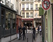 Cafe & LGBT flag in the Marais: Paris, France Stock Footage