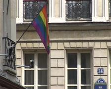 LGBT Flag - The Marais, Paris, France - stock footage