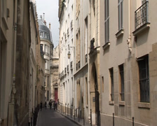 Paris, France: Narrow street in the Marais - stock footage