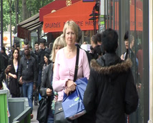 Crowded street near Republique: Paris, France Stock Footage