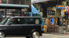 Hong Kong Wanchai downtown Street traffic scene China Asia Stock Footage