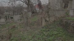 Old haunted cemetery [flycam] Stock Footage