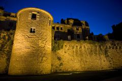 The historic city of vannes at nigth, in brittany, france Stock Photos