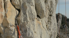 Rock climbing protection failing slow motion - stock footage