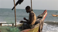 Stock Video Footage of Africa: Fisherman at work in Ghana