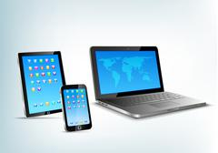 abstract 3d devices: tablet pc, laptop, smartphone vector perspective view. - stock illustration