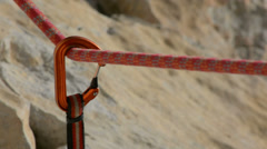 Rock climbing equipment slow motion detail - stock footage