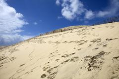 Stock Photo of famous dune fences, highest sand dune in europe, in pyla sur mer, france.