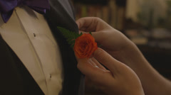 Pinning boutonniere lapel flower on jacket cu Stock Footage