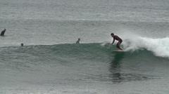 2014 atlantik longboard surfer slowmotion Stock Footage