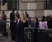 Banker on phone - London city business district - stock footage