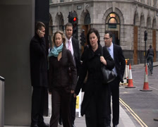 Bankers - London - men at work sign Stock Footage