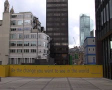 Be the change you want to see in the world - London - Gandhi Quote Stock Footage