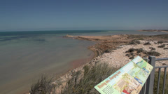 Pan from Eagle Bluff look out in SharkBay National Park Stock Footage