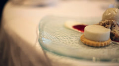 Catering dessert on plate Stock Footage