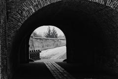 Alba Iulia tunel near city walls abstract BW Stock Photos
