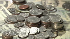 Rotating US Coins and Currency Background Stock Footage