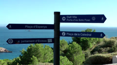 Europe Spain Balearic Ibiza Eivissa city 137 signs for different directions Stock Footage