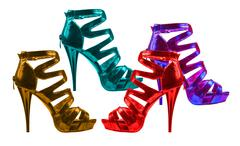 Women's shoes bright shades. collage Stock Photos