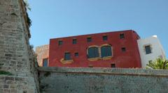 Europe Spain Balearic Ibiza Eivissa city 136 backside of old museum Stock Footage