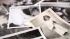 Unfocused Old Photo Album Of Family Members Stock Footage