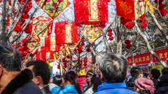 Crowded visitors at temple fair in Ditan Park during Chinese Spring Festival Stock Footage