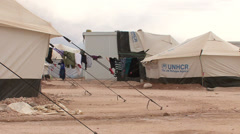 UNHCR's tents in Zaatari Refugee Camp - stock footage