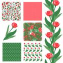 Stock Illustration of set of 6 elegant seamless patterns with decorative red tulips, design elements