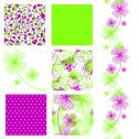 Stock Illustration of set of 6 elegant seamless patterns with lucky four leaf clovers, design elements