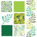 Stock Illustration of set of 6 elegant seamless patterns with decorative green leaves, design elements