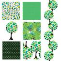 Stock Illustration of set of 6 elegant seamless patterns with decorative green trees, design elements