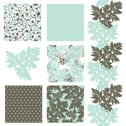 Stock Illustration of set of 6 elegant seamless patterns with decorative leaves, design elements